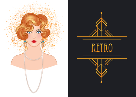 Art Deco vintage invitation template design with illustration of flapper girl. patterns and frames. Retro party background set (1920's style). Vector for glamour event, thematic wedding or jazz party.  イラスト・ベクター素材