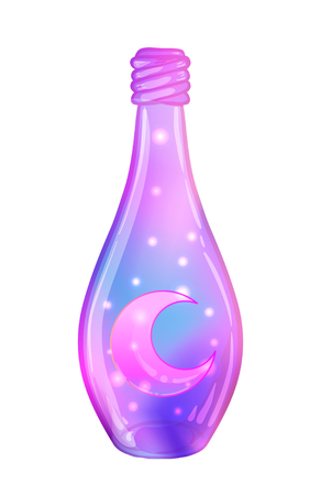 Magic potion: bottle jar with pink moon and glowing stars inside. Greeting Card. Vector illustration isolated on white. Valentine's day concept.