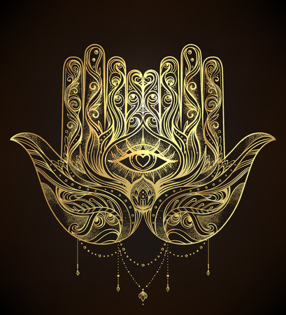 Ornate hand drawn hamsa. Popular Arabic and Jewish amulet. Vector illustration isolated on white. Tattoo design, mystic symbol. coloring book for adults. Black outline tattoo flash.