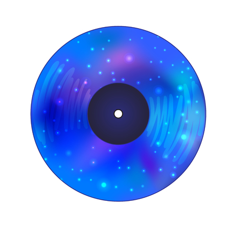Vinyl record disc with Galaxy inside. Vector illustration isolated on white background. The symbol of magic, astrology and astronomy. Night club,party. Abstract magic night concept. Vectores