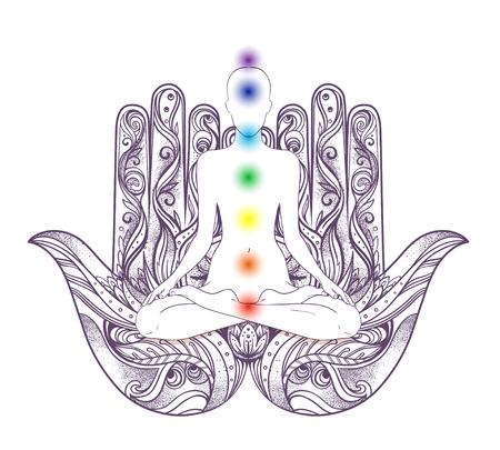 Menselijke silhouetzitting in lotusbloempositie met chakras over hamsasymbool op achtergrond. Vector illustratie van een geïsoleerd meisje. Overladen hand getrokken hamsa. Populaire Arabische en Joodse amulet.