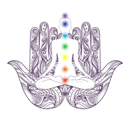 Human silhouette sitting in lotus position with chakras over hamsa symbol on background. Vector illustration of a girl isolated. Ornate hand drawn hamsa. Popular Arabic and Jewish amulet. Illustration