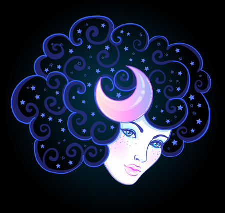 Girl with white hair, head in the clouds with moon and stars. Concept of inner reality, mental health, imagination, thinking, dreaming. Female portrait of night goddess. Isolated vector illustration.