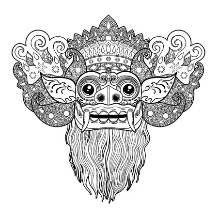 Barong. Traditional ritual Balinese mask. Vector outline illustration for coloring book isolated. Hindu ethnic symbol, tattoo art, yoga, Bali spiritual design for print, posters, t-shirts, textiles.