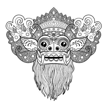 Barong. Traditioneel ritueel Balinees masker. Vector overzicht illustratie voor kleurboek geïsoleerd. Hindoe etnisch symbool, tattoo kunst, yoga, Bali spiritueel ontwerp voor print, posters, t-shirts, textiel. Stockfoto - 99545263