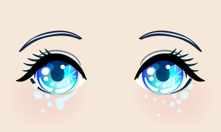 Colorful beautiful eyes in anime (manga) style with shiny light reflections. Bright vector illustration isolated. Emotions: expression of sadness. Pastel goth colors. Japanese  cartoon. Çizim