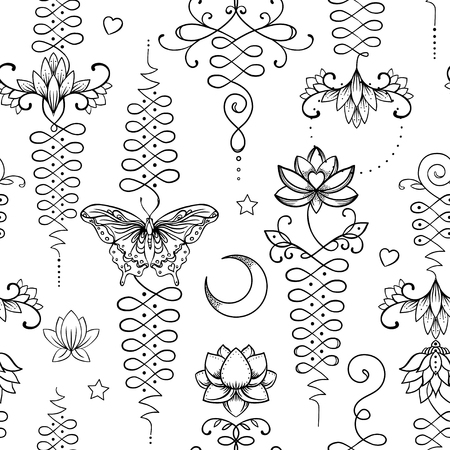 Lotus and Sacred Geometry. Seamless pattern. Unamole Hindu symbol of wisdom and path to perfection. Tattoo, yoga logo, Buddhism design, print, poster, t-shirt, textile. repeating vector illustration. 矢量图像