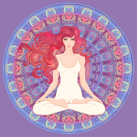 Beautiful Caucasian Girl with long curly red hair sitting in Lotus pose with ornate mandala on background. Vector illustration. Spa consent, yoga studio, or natural medicine clinic. Art nouveau style.