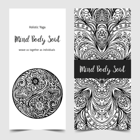 Stretch and strength yoga card design template. Black and white banner for spiritual retreat or yoga studio. Ornamental business cards, oriental pattern vector illustration isolated. Ilustração