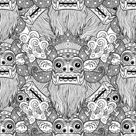 Barong, traditional ritual Balinese mask vector decorative ornate outline black and white seamless pattern. Hindu ethnic symbol, tattoo art, yoga, Bali spiritual design for print, t-shirt, textile.