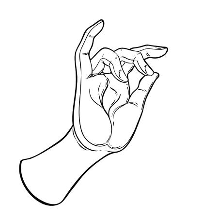Lord Buddha's hand with eye holding Lotus flower. Isolated vector illustration of Mudra. Hindu motifs. Tattoo, yoga, spirituality, textiles. Sketchy style, hand drawn. Vintage drawing.