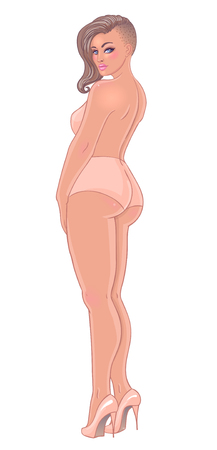 Curvy girl in beige underwear isolated on white. Vector illustration. Plus size model in lingerie or swimsuit and high heels. Body positive concept. Beautiful woman with hair shaved on one side. Illustration