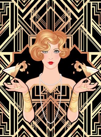 Mano femenina copa de cóctel con splash. Diseño de plantilla de invitación vintage Art Deco (estilo de los años 20) para lista de bebidas, menú de bar, evento glamour, boda temática, folleto de fiesta de jazz. Arte vectorial