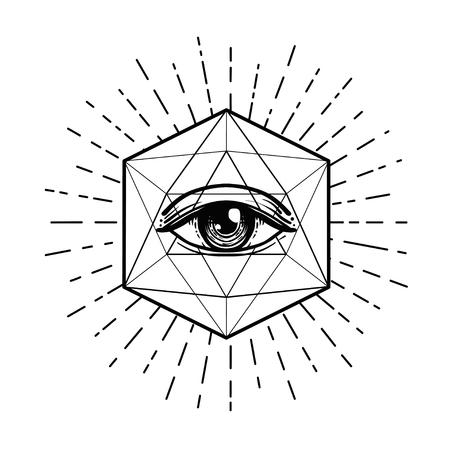 Black work tattoo flash, eye of providence. Masonic symbol, all seeing eye inside triangle pyramid. New world order sacred geometry, religion, spirituality, occultism isolated vector illustration.
