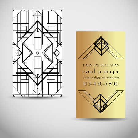 Art Deco vintage invitation template design. patterns and frames. Retro party geometric background set (1920's style). Vector illustration for glamour event, thematic wedding or jazz party. Illustration