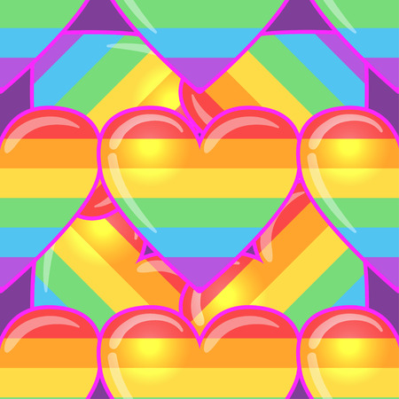 Rainbow hearts. Gay pride flag colored colored hearts seamless pattern. Trendy stylish texture. Repeating colorful tile, artwork for print and textiles. Isolated vector illustration. LGBT concept. Illustration