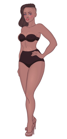 Curvy african american girl in underwear isolated on white. Vector illustration. Plus size model in lingerie or swimsuit and high heels. Body positive concept. Beautiful black woman.