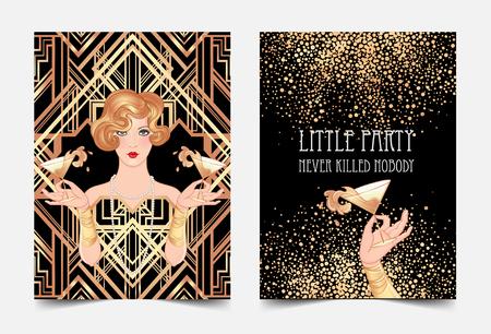 Weibliche Hand, die Cocktailglas mit Spritzen hält. Vintage Einladungsschablonenauslegung des Art Deco (Jahrart) für Getränkekarte, Barkarte, Zauberereignis, thematische Hochzeit, Jazz-Partyflieger. Vektorgrafiken
