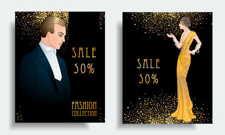 Retro fashion. Costume party or mafia game discount banner template. Flapper girl. Vintage background set. Vector illustration for glamour party, thematic wedding. Çizim