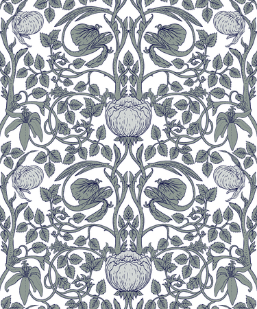 Floral vintage seamless pattern for retro wallpapers, textiles, designs. Enchanted Vintage Flowers. Arts and Crafts movement inspired.
