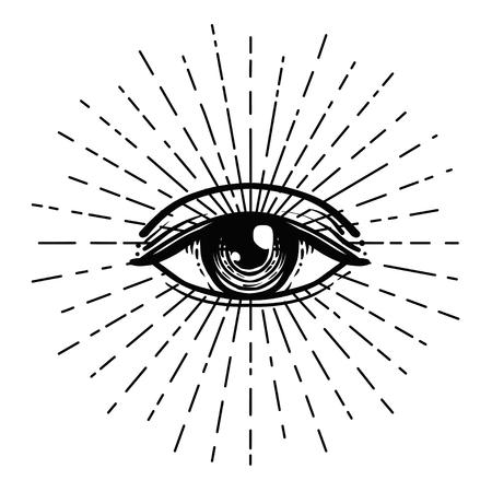 Blackwork tatuaje flash. Ojo de la Providencia. Símbolo masónico Ojo que todo lo ve dentro de la pirámide triangular. Nuevo orden mundial. Geometría sagrada, religión, espiritualidad, ocultismo. Ilustración de vector aislado