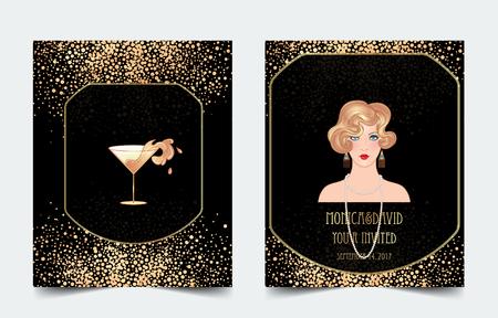 スプラッシュ付きのカクテルグラスを持つ女性の手。アールデコ(1920年代のスタイル)ヴィンテージ招待テンプレートデザインドリンクリスト、バー  イラスト・ベクター素材