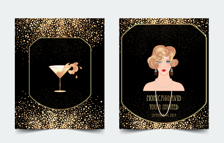 Female hand holding cocktail glass with  splash. Art deco (1920's style) vintage invitation template design for drink list, bar menu, glamour event, thematic wedding, jazz party flyer. Vector art.