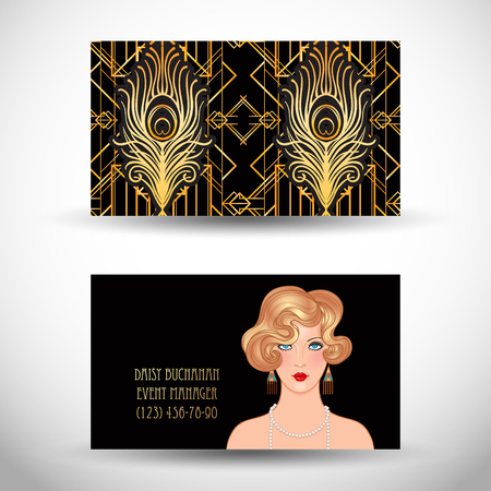 Art Deco vintage invitation template design with illustration of flapper girl. patterns and frames. Retro party background set. Vector for glamour event, thematic wedding or jazz party. Illustration