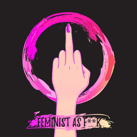 Womens March. Female hand with her fist raised up. Girl Power. Feminism concept. Realistic isolated vector illustration in pink hand drawn watercolor circle. Sticker, patch design. International