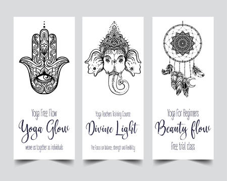 Stretch and Strength. Yoga card design template. Black and white banner for spiritual retreat or yoga studio. Ornamental business cards, oriental pattern. Vector illustration isolated.