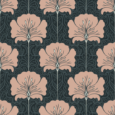 Vintage seamless pattern with pink flowers. Art nouveau style. Vector illustration.  Vintage Fabric, textile, wrapping paper, textiles, wallpaper. Retro hand drawn.