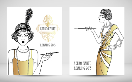 Art Deco vintage invitation template design. patterns and frames. Retro party geometric background set. Vector illustration for glamour event, thematic wedding or jazz party.