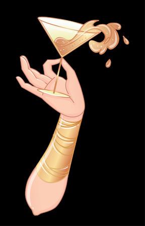スプラッシュ付きのカクテルグラスを持つ女性の手。ドリンクリスト、バーメニュー、グラマーイベント、テーマウェディング、ジャズパーティー