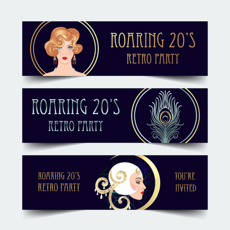 Art Deco vintage invitation template design with illustration of flapper girl. patterns and frames. Retro party background set. Vector for glamour event, thematic wedding or jazz party. Çizim