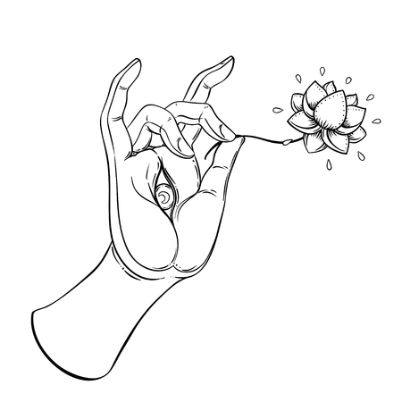 Lord Buddhas hand with eye holding Lotus flower. Isolated vector illustration of Mudra. Hindu motifs. Tattoo, yoga, spirituality, textiles. Sketchy style, hand drawn. Vintage drawing.  Illustration