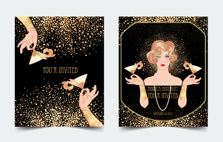 Female hand holding cocktail glass with splash. Art deco vintage invitation template design for drink list, bar menu, glamour event, thematic wedding, jazz party. Vector art.