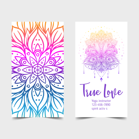 True Love. Yoga studio card design. Colorful template for spiritual retreat or pilates studio. Ornamental banners, oriental pattern over white background. Vector illustration.