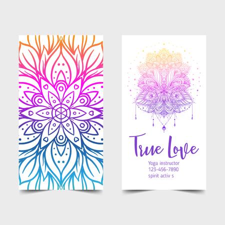 True Love. Yoga studio card design. Colorful template for spiritual retreat or pilates studio. Ornamental banners, oriental pattern over white background. Vector illustration.