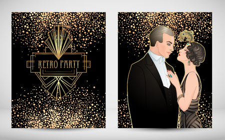 Flapper style Vintage party or thematic wedding invitation design template. Beautiful couple in art deco style. Retro fashion: glamour man and woman of twenties. Vector illustration.