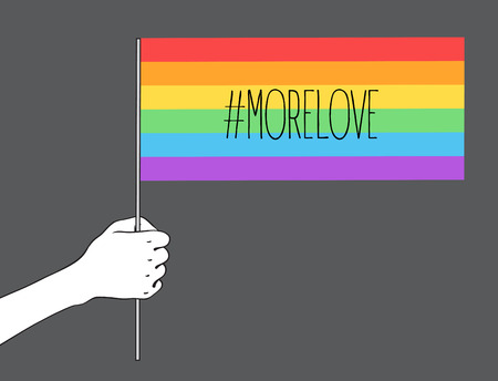 Love is Love. Human hand holding flag of LGBT community on flagstaff. Vector illustration in rainbow color for sticker,  greeting card, poster, patch, t-shirt, pin.