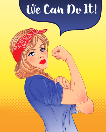We can do it! Design inspired by classic vintage feminist poster.  Woman empowerment. Vector Illustration in cartoon style. Blonde girl with her fist raised up. International women day concept.
