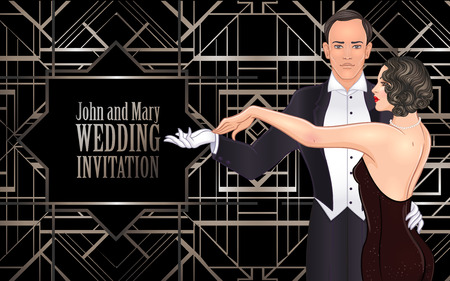 Beautiful couple in art deco style dancing tango. Retro fashion: glamour man and woman of twenties. Vector illustration. Flapper 20's style. Vintage party or thematic wedding invitation template. Illusztráció