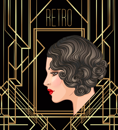 Art Deco vintage invitation template design with illustration of flapper girl. patterns and frames. Retro party background set (1920s style). Vector for glamour event, thematic wedding or jazz party.