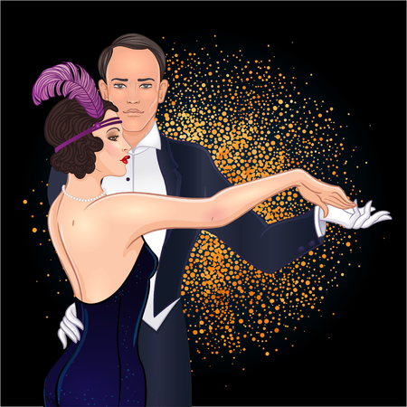 Beautiful couple in art deco style dancing tango. Retro fashion: glamour man and woman of twenties. Vector illustration. Flapper 20's style. Vintage party or thematic wedding invitation template. Banque d'images - 112005528