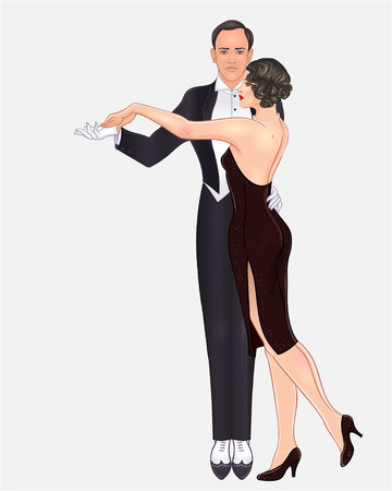 Beautiful couple in art deco style dancing tango. Retro fashion: glamour man and woman of twenties. Vector illustration. Flapper 20s style. Vintage party or thematic wedding invitation template.