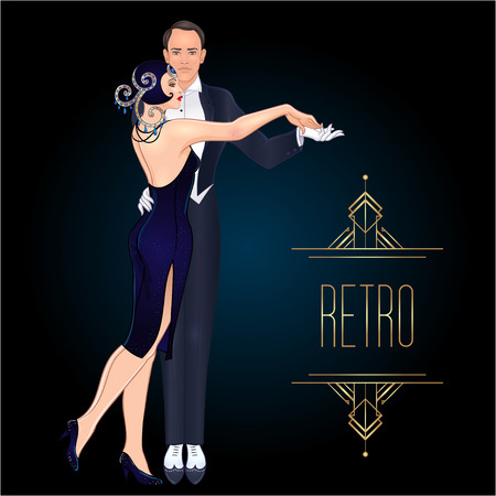 Beautiful couple in art deco style dancing tango. Retro fashion: glamour man and woman of twenties. Vector illustration. Flapper 20's style. Vintage party or thematic wedding invitation template.