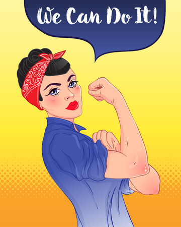 We can do it! Design inspired by classic vintage feminist poster. Woman empowerment. Vector Illustration in cartoon style. Brunette girl with her fist raised up. International women day concept.