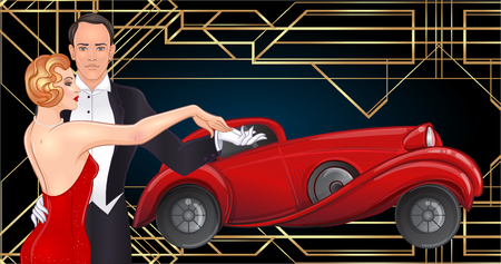 Beautiful couple in art deco style dancing tango. Retro fashion: glamour man and woman of twenties and red car. Vector illustration. Roaring Twenties. Classic automobile, luxury vintage concept. Çizim