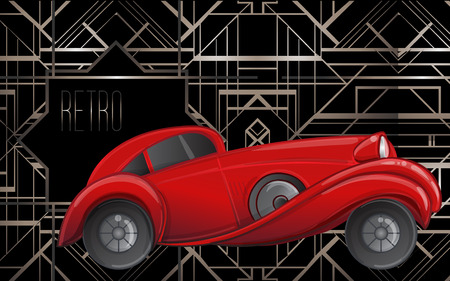 Art deco style red car. Vector illustration. Roaring Twenties. Classic automobile, luxury vintage concept.  イラスト・ベクター素材