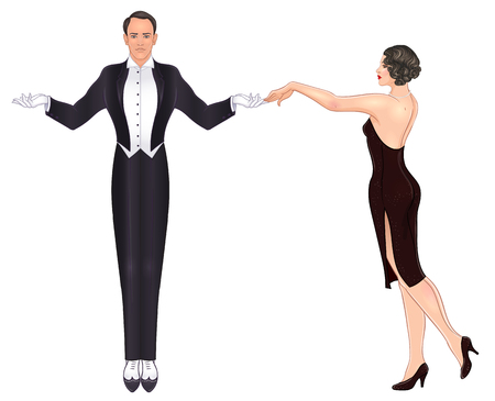 Beautiful couple in art deco style dancing tango. Retro fashion: glamour man and woman of twenties. Vector illustration. Flapper 20's style. Vintage party or thematic wedding invitation template. Çizim
